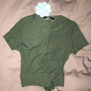 Taking Chances crop top in Forest green